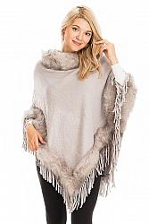Faux Fur Cuffed and Collared Throw Over Poncho - Gray