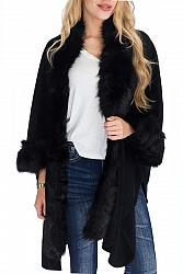 #AP-8521 Faux Fur Trimmed Shawl Poncho - Black
