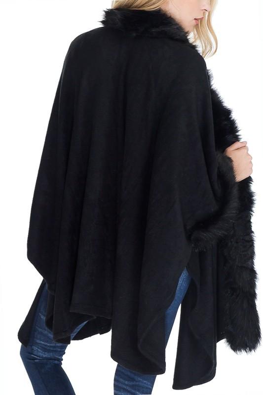 Faux Fur Trimmed Shawl Poncho - Black