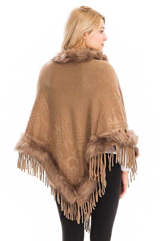Faux Fur Cuffed and Collared Throw Over Poncho - Mocha Brown