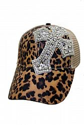 #HT-661 Clear Crystal Chunky Cross Embellished Cheetah All Print Trucker Hat