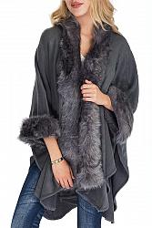 Faux Fur Trimmed Shawl Poncho - Gray