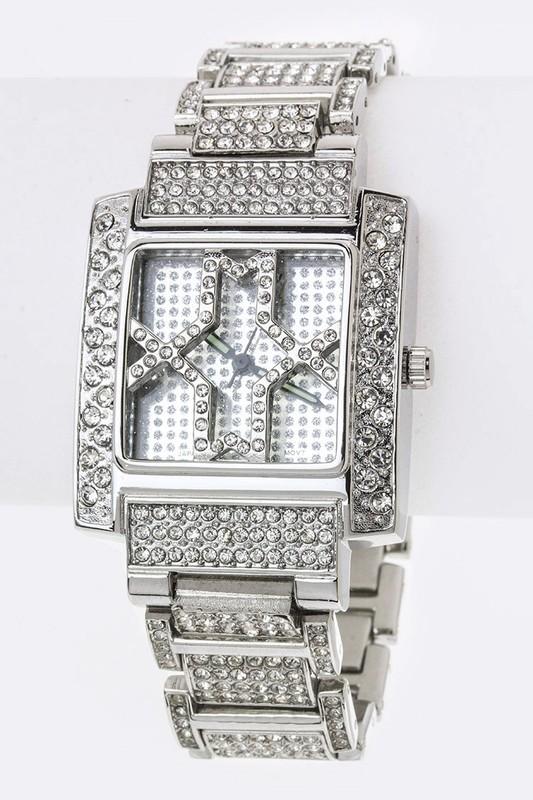 Bling Crystal Bracelet Silver Watch