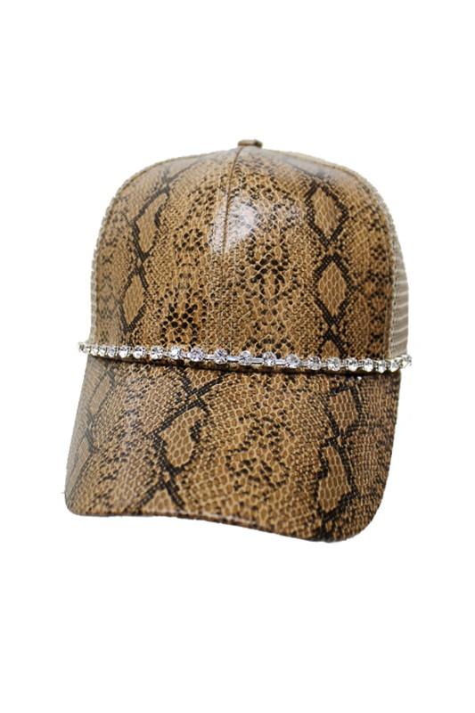Reptile Snake Skin Print Crystal Rhinestone Embellished Bling Trucker Hat