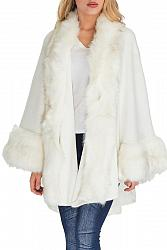 Faux Fur Trimmed Shawl Poncho - Cream