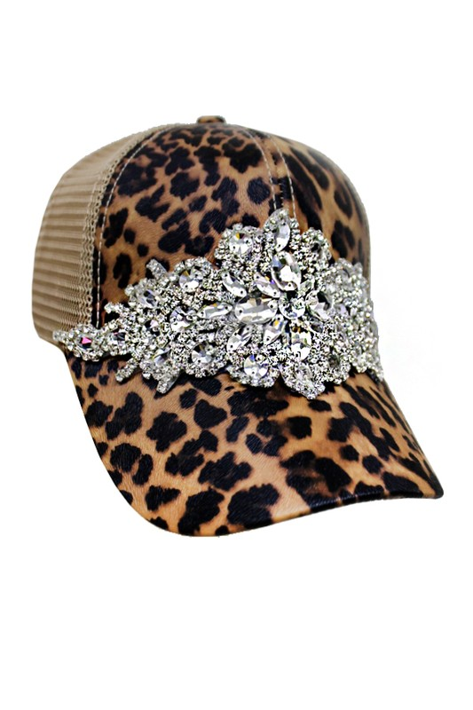 Cheetah Flower Clear Crystal Rhinestone Embellished Trucker Hat