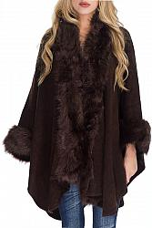 Faux Fur Trimmed Shawl Poncho - Brown