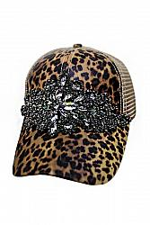 Cheetah Flower Black Crystal Rhinestone Embellished Trucker Hat