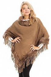 #AP-966 Faux Fur Cuffed and Collared Throw Over Poncho - Mocha Brown