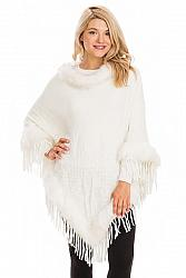 Faux Fur Cuffed and Collared Throw Over Poncho - Cream