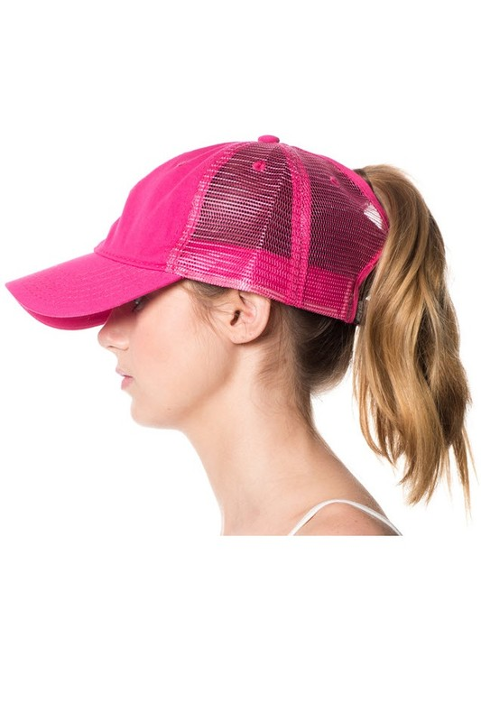 Trucker Mesh Back Ponytail Hat - 3 Colors Available