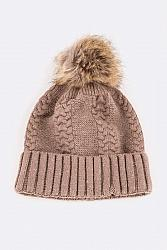 Cable Knit Wool Blend Beanie - Taupe