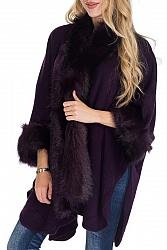 Faux Fur Trimmed Shawl Poncho - Purple