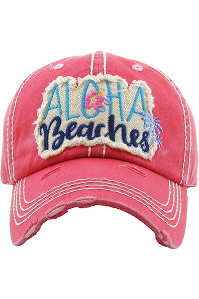 ALOHA BEACHES Distressed Baseball Hat - Hot Pink