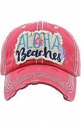ALOHA BEACHES Distressed Baseball Hat - Hot Pink