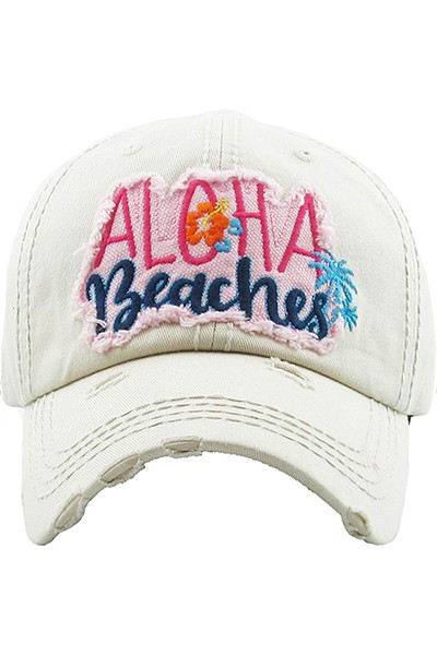 ALOHA BEACHES Distressed Baseball Hat - Cream