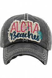 ALOHA BEACHES Distressed Baseball Hat - Black
