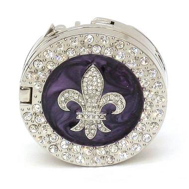 Fleur de Lis Rhinestone Bag Hanger - Purple