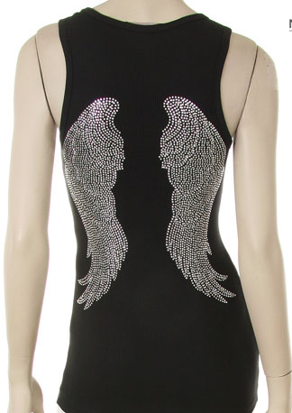 ANGEL WINGS SILVER RHINESTONE DESIGN TANK