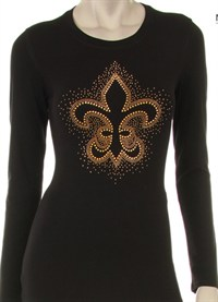 GOLD STUDED FLEUR DE LIS WITH SCATTERED EMBELLISHMENT DESIGN