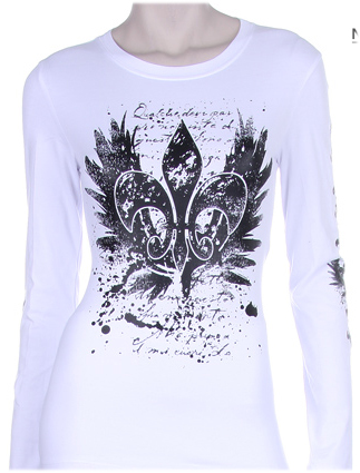 FLEUR DE LIS WITH WINGS PRINT ON FRONT & SLEEVES DESIGN