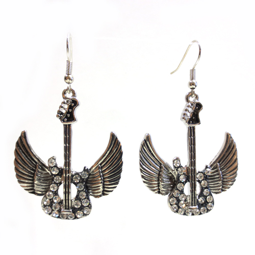 Silver Casting Guitar with Wing Rhinestone Accented Dangle Earring