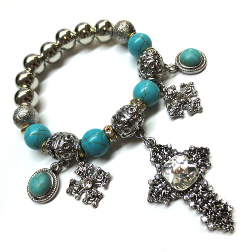 Turquoise Bead with Cross Charm Stretch Bracelet