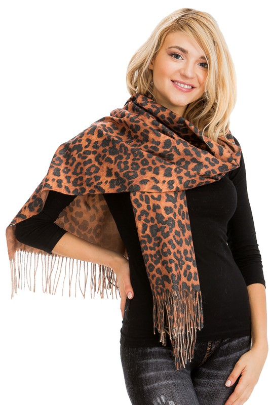 Leopard Animal Printed & Fringed Over Sized Pashmina Scarf