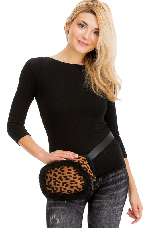 Leopard Animal Printed and Sherpa Fur Lined Bucket Belt Strapped Fanny Pack