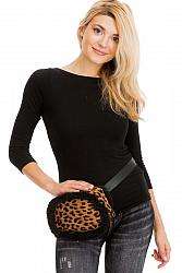 #HB-5557 Leopard Animal Printed and Sherpa Fur Lined Bucket Belt Strapped Fanny Pack