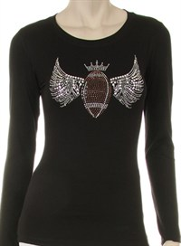 FOOTBALL QUEEN PREMIUM RHINESTONE ON NAILHEAD WINGS DESIGN