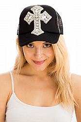 #HT-4405 Rhinestone Large Bling Cross Trucker Hat