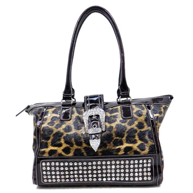 Lewis Leopard Rhinestone Handbag