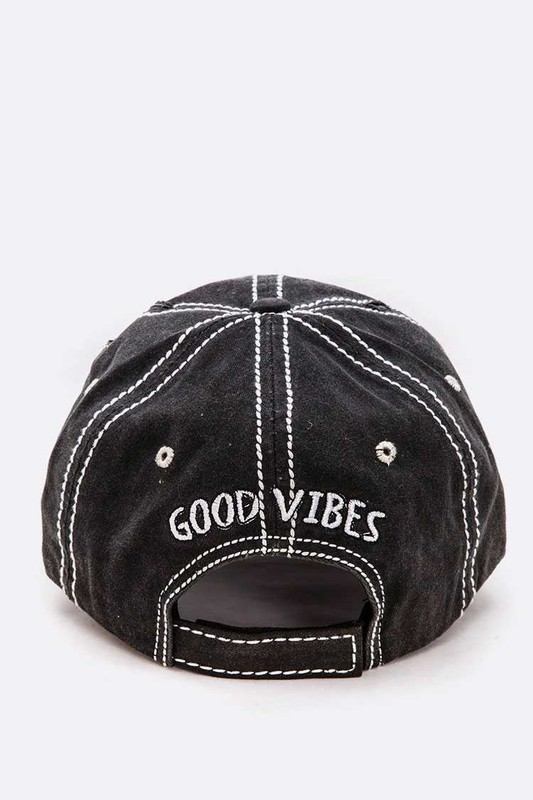 Good Vibes Embroidered Patch Vintage Cap