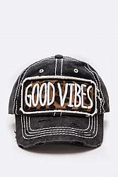#HT-5899 Good Vibes Embroidered Patch Vintage Cap