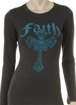 TURQUOISE Rhinestone Faith Cross Shirt - Charcoal Grey