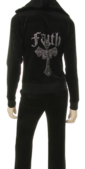 FAITH CROSS RHINESTONE DESIGN ON VELOUR ZIPUP HOODIE TOP & PANTS