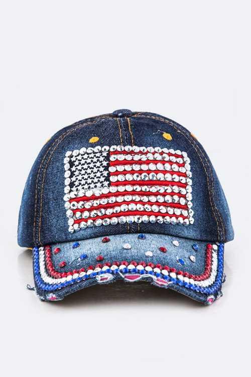 Crystal US Flag Embellished Fashion Denim Cap