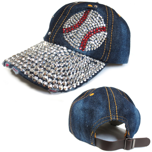 BB-5590 Baseball Bling Silver Crystal Embellished Brim Baseball Hat 39bb3a98906