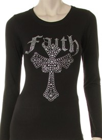 FAITH CROSS CLEAR RHINESTONE DESIGN