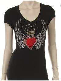 Rhinestone Heart and Crown Tshirt