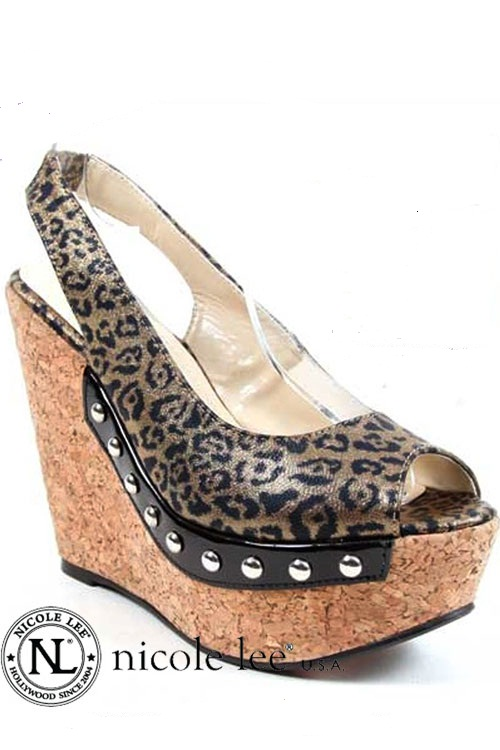 #FT-550 Sassy Sandy Leopard Wedge