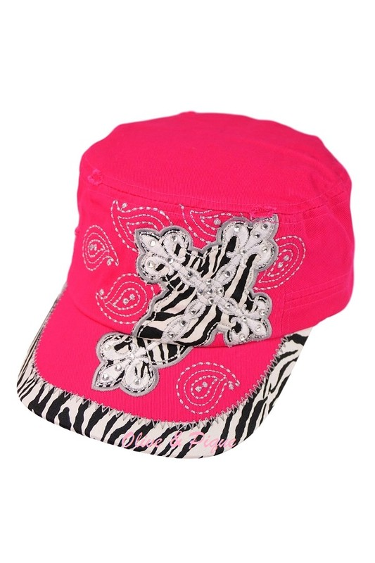 Embellished Glam Zebra Cross Cadet - Hot Pink
