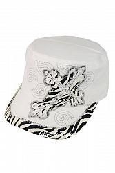 Embellished Glam Zebra Cross Cadet - White
