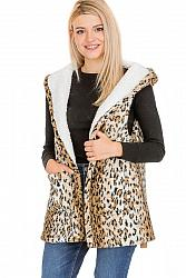 #AP-8055 Leopard Patterned Hooded and Pocketed Faux Fur Lined Vest