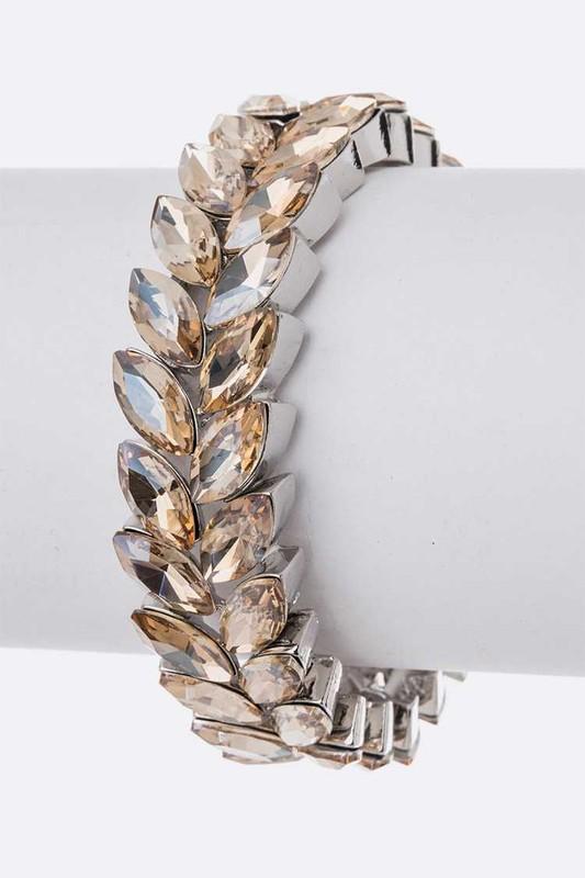 Tropaz Crystal Leaf Stretch Bracelet
