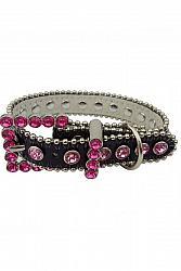 Black & Hot Pink Leather Dog Collar