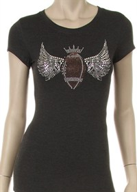 Rhinestone Football with Wings Tshirt