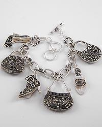 Ladies Shoe And Purse Charm Bracelet