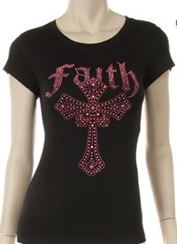 PINK FAITH CROSS Rhinestone Shirt - S/S